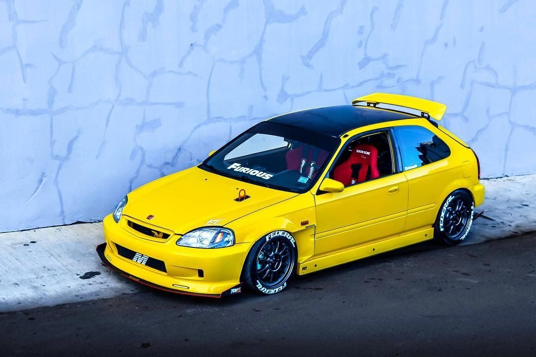 Black And Yellow Ek Hatchback With Recaro Seat Honda