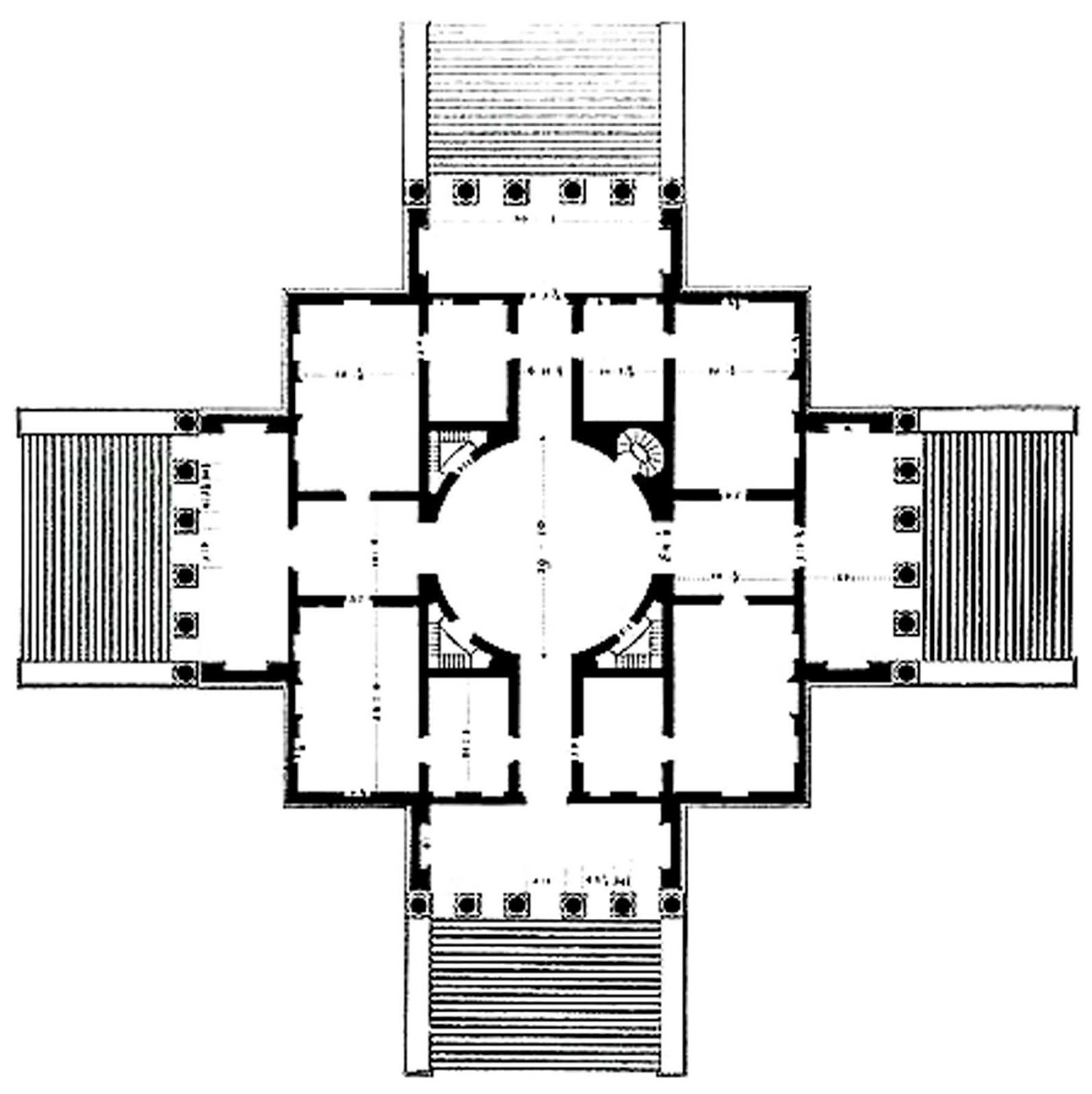 Comparison palladio rotonda plan to richard boyle for Palladian style house plans