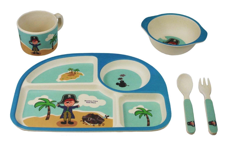 Bamboo Kids 5 Piece Blue Pirate Dinnerware Set  sc 1 st  Pinterest & Bamboo Kids 5 Piece Blue Pirate Dinnerware Set | Products