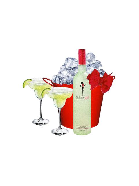 SkinnyGirl Margarita Gift Set   Item Number: M1251994 All of the fun of a margarita with none of the guilt! This gift set includes a 750ml bottle of Skinnygirl Margarita packaged inside a sleek red party pail plus two Margarita glasses. Pour 4oz of Skinnygirl over ice for a delicious 100 calorie indulgence!