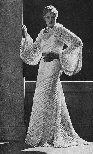 Les Modes (Paris) 1935 Robe du Soir par Dilkusha 30s vintage fashion style photo print woman in evening gown white puff sleeves unique fabric dress crinkle long