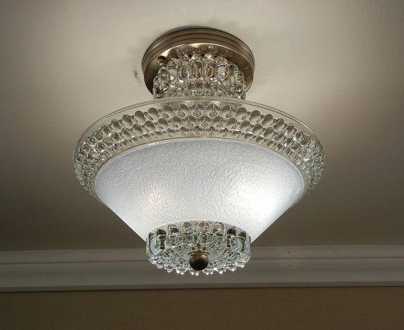 Vintage 1930s art deco blue hobnail glass antique sem flush ceiling light fixture rewired