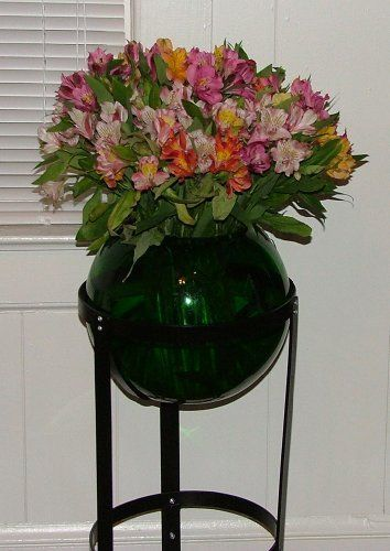 Round Green Glass Gazing Globe Vase Wrought Iron Plant Stand By In