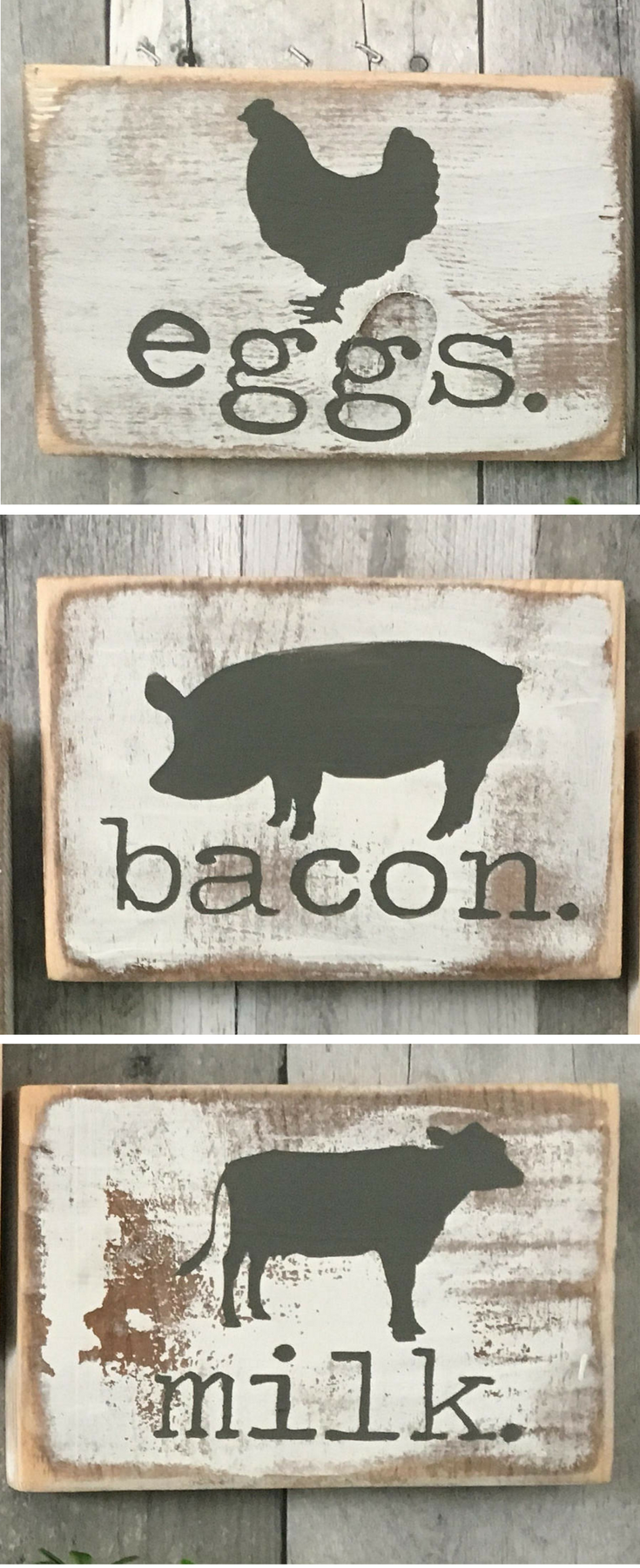 Set Of 3 Signs Farmhouse Kitchen Decor Animals Cow Pig