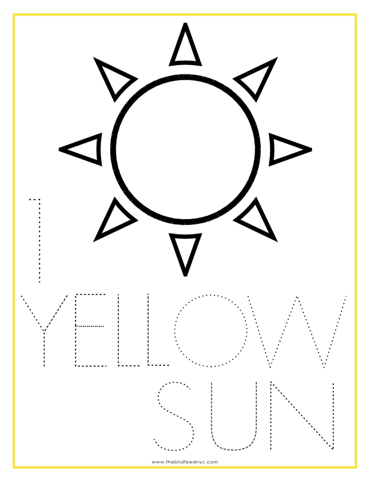 Numbers Coloring Sheet 1 Yellow Sun