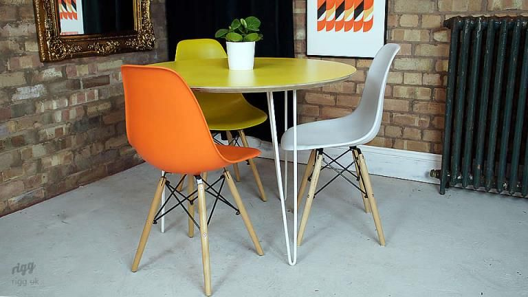 Custom Made Mid Century Modern Round Hairpin Leg Table With A 3