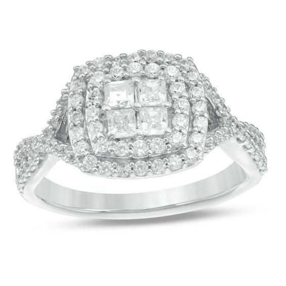 #ZALES - #Zales 3/4 CT. T.W. Quad Princess-Cut Diamond Double Frame Twist Engagement Ring in 10K White Gold at Zales - AdoreWe.com