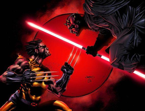 Wolverine vs. Darth Maul Star Wars and Marvel by Wizyakuza