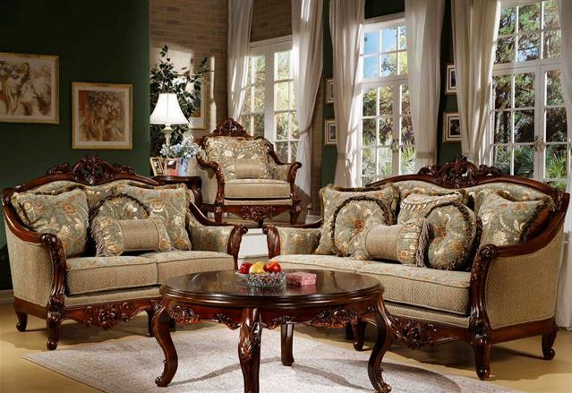Vendome Formal Sofa & Loveseat Set In Ornate Dark Brown Cherry Faux ...