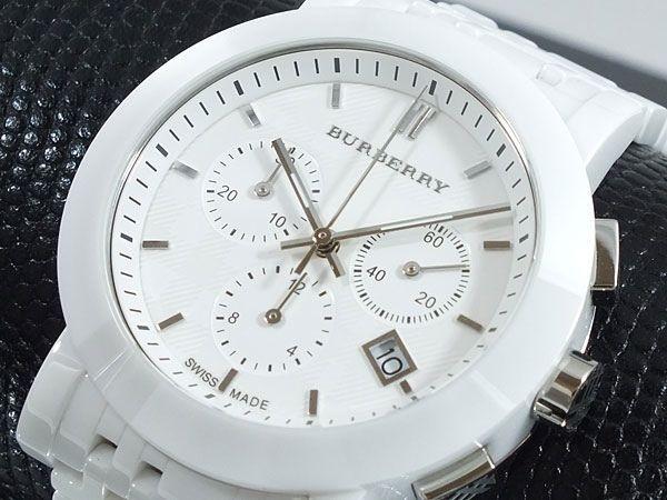 0ff7a998922 Well groom men --  BURBERRY Men Watch White Ceramic Bracelet Check  Chronograph W
