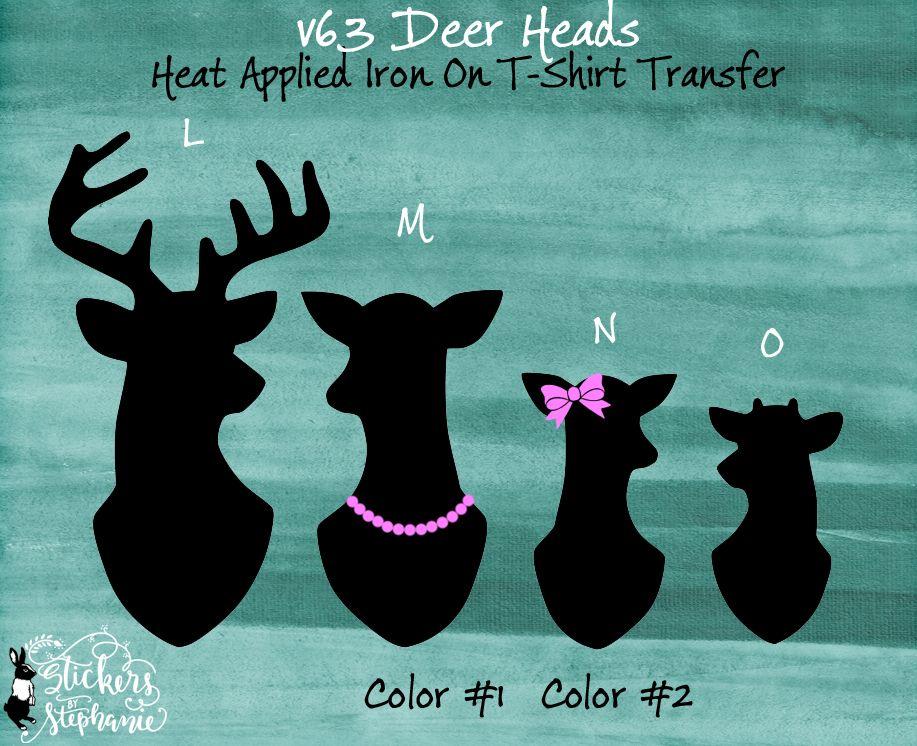 STICKER or IRON ON (s63) Deer Head Family Buck Doe Fawn