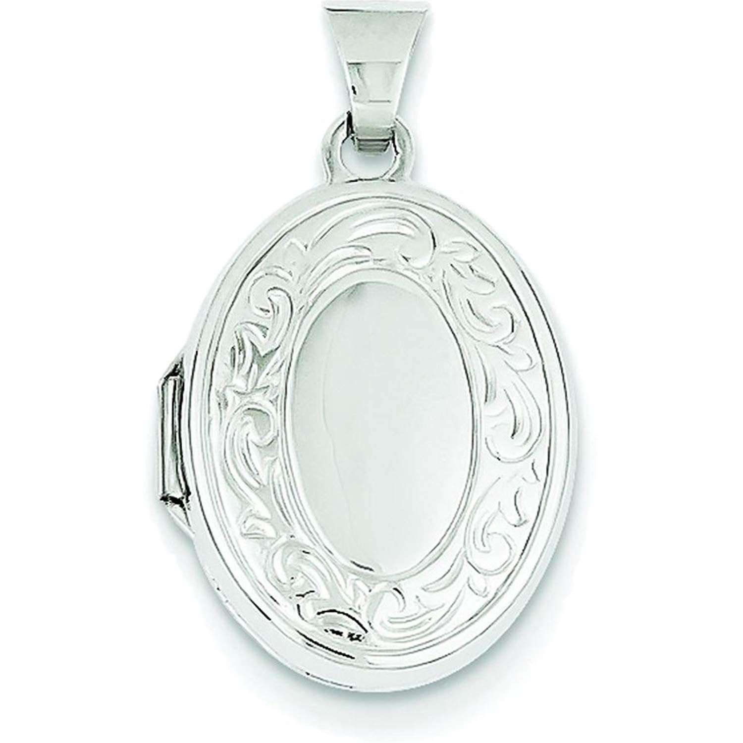 14k White Gold 17mm Oval Embossed Border Photo Pendant Charm Locket Chain Necklace That Holds Pictures Fine Jewelry For Women Gifts For Her