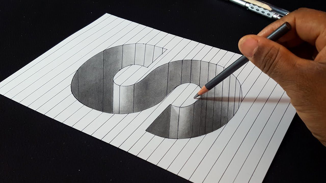 How To Draw 3d Letter S Hole Shape Easy 3d Drawings Youtube Easy 3d Drawing 3d Art Drawing 3d Drawings