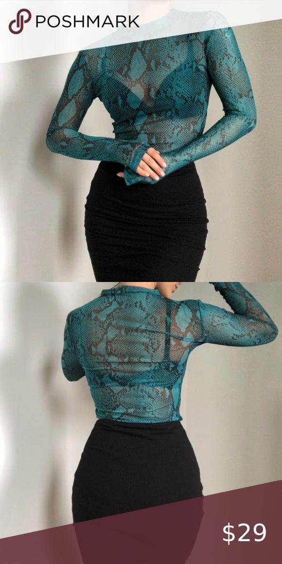 REVOLVE Snake green blue long sleeve sheer top