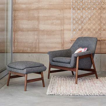 Theo Chair, Tweed, Salt + Pepper, (Walnut Legs) Woods, Living