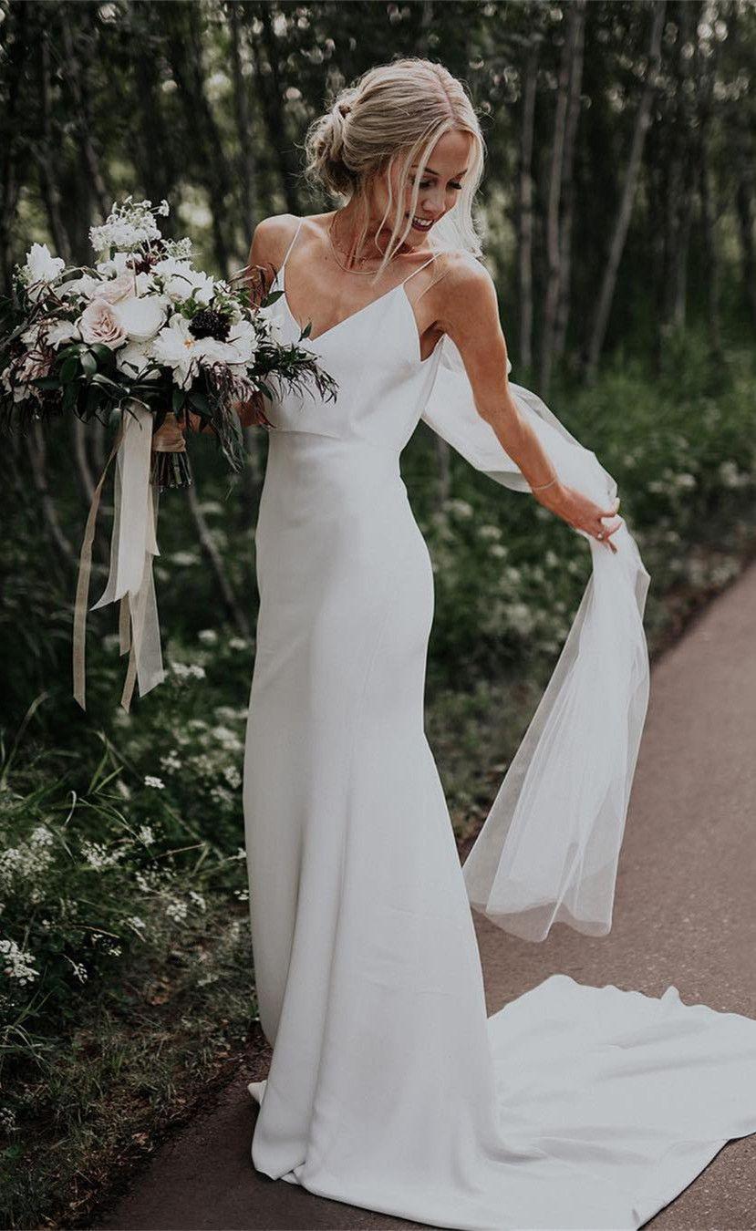 Simple Wedding Dresses Sheath Spaghetti Straps Long Satin Bridal Gowns WD223 5