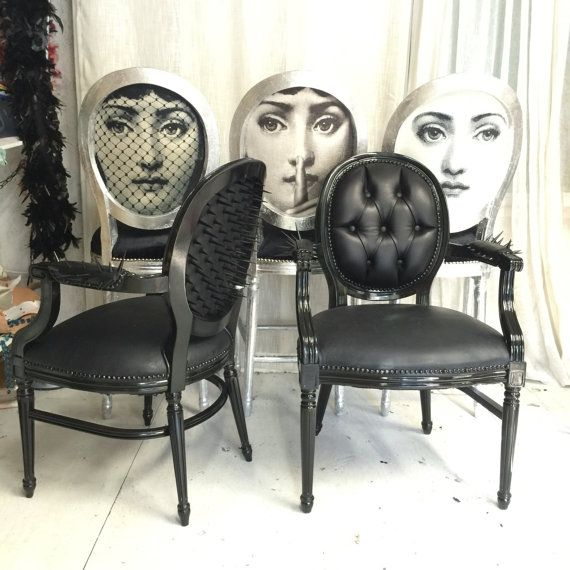 Set of barstools painted silver and upholstered in black silk