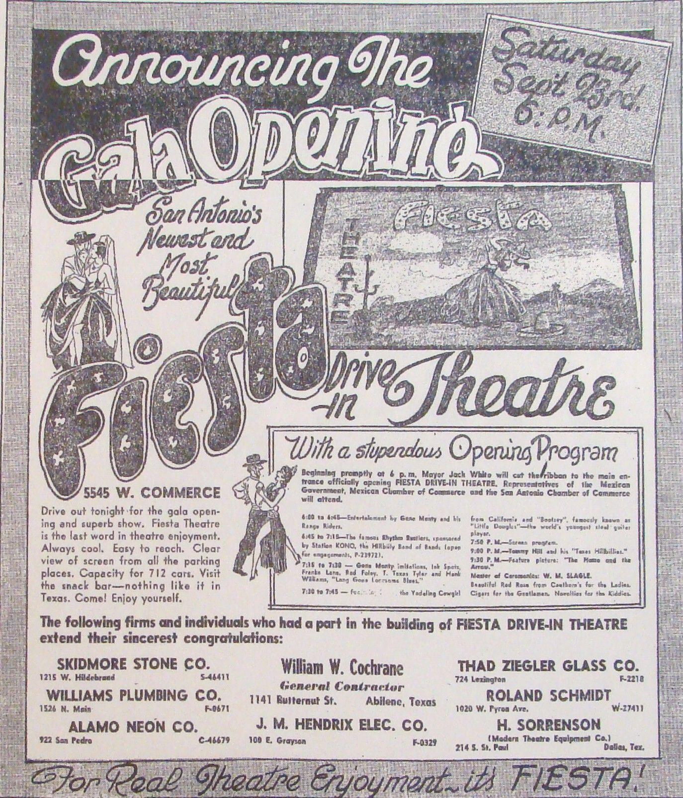 Fiesta drivein theatre san antonio tx grand opening