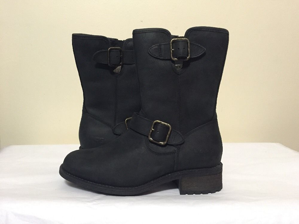 UGG Australia Chaney 1007542 Women's Black Leather Mid Calf Mid Heel Boots  6 M #UGGAustralia