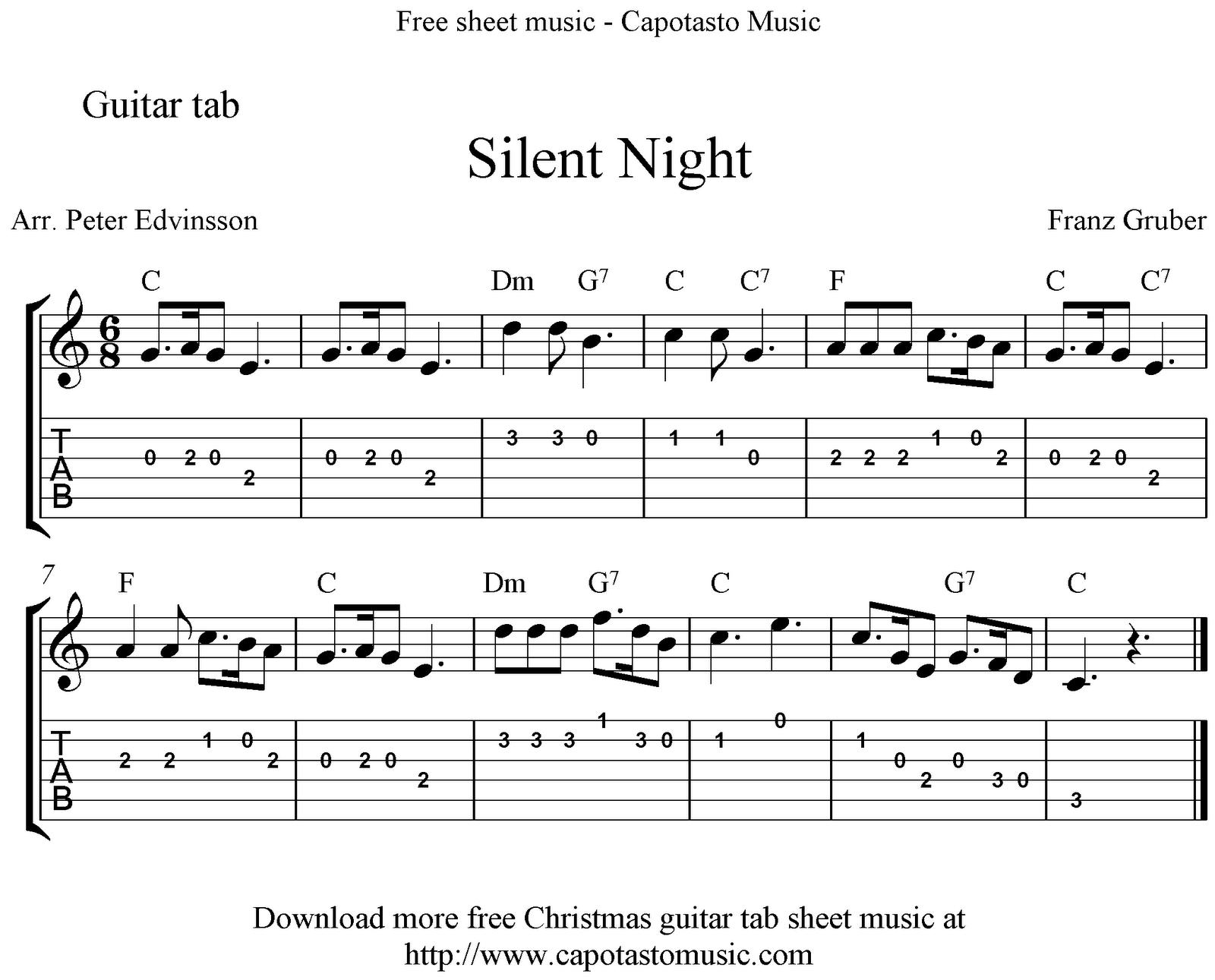 Silent Night Easy Sheet Music : Sheet Music Scores: Silent Night, easy free Christmas guitar tab ...