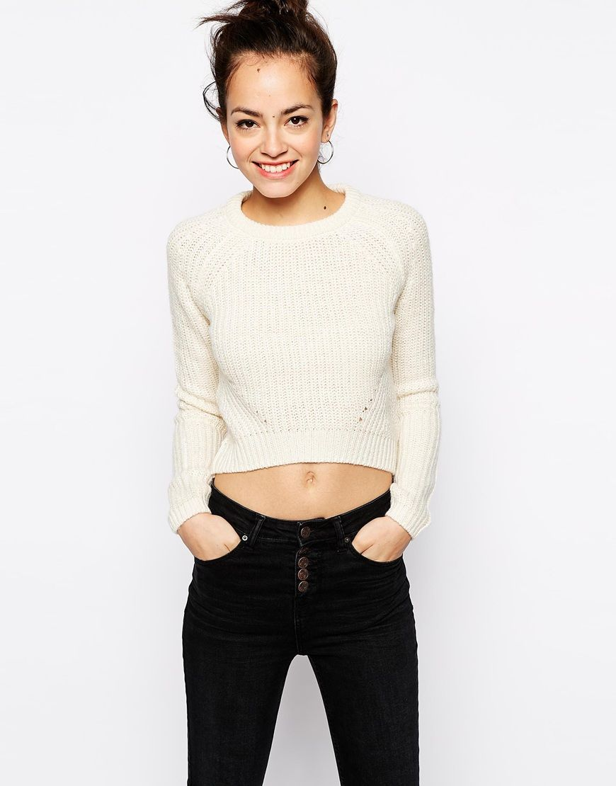 Image of new look slouch crop jumper knitted jumpers pinterest