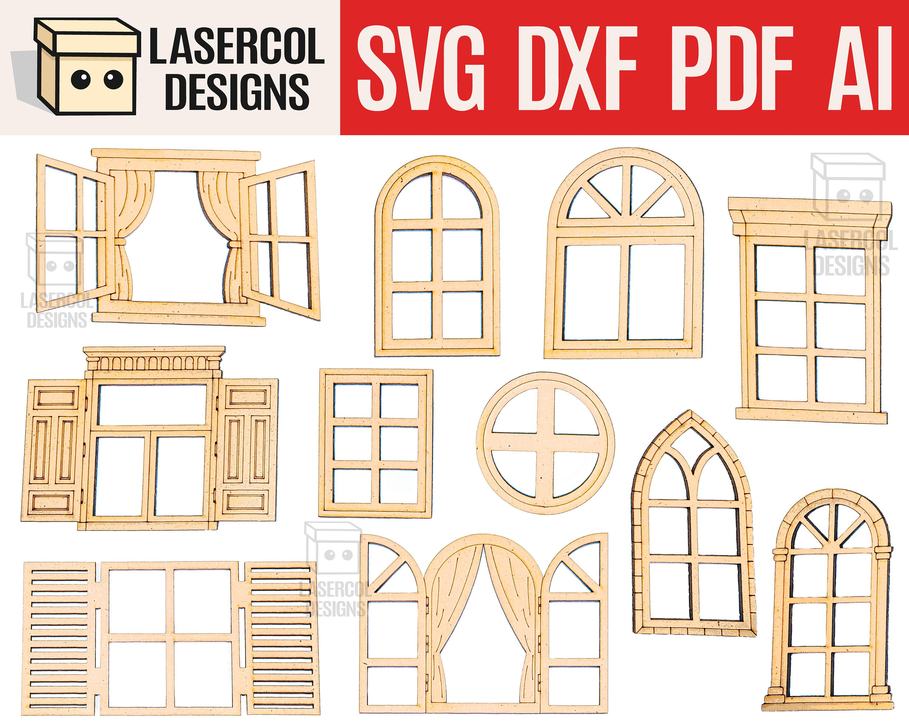 Crib with stairs dollhouse glowforge files DXF Laser cut files SVG laser pattern laser svg laser cut template