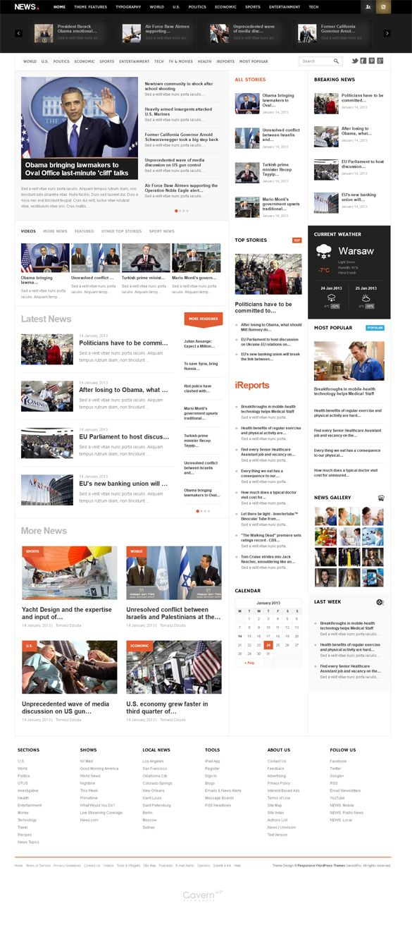 Gavick News Wordpress Premium Newspaper Portal Theme By Premium