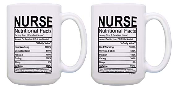 Funny Gifts for Nurses Nurse Nutritional Facts