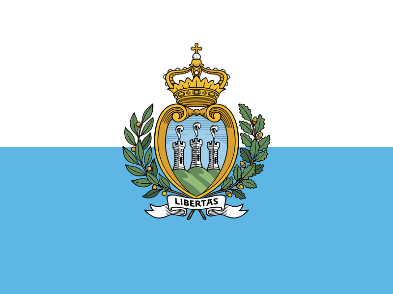 The San Marino flag was officially adopted on April 6, 1862. Blue is ...