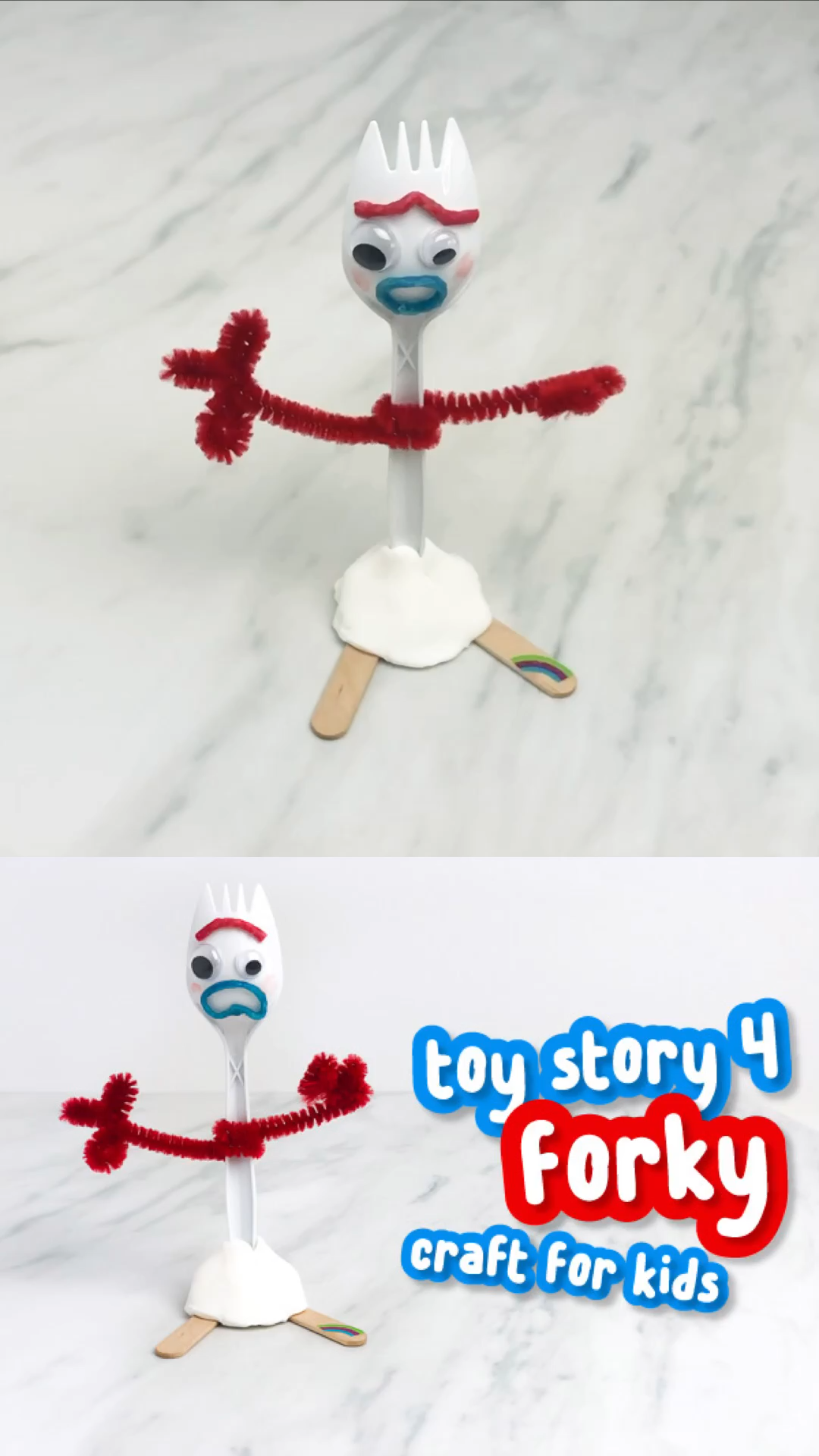 Disney Craft For Kids | Learn how to make this simple and fun Forky toy from Disney Pixar's Toy Story 4! This is an easy activity for kids of all ages from preschool to  kindergarten to elementary students and it's great for Disney fans!!  #kids #kidscrafts #craftsforkids #disney #disneykids #disneycrafts #ideasforkids #kidsandparenting #toystory4 #toystory #kidsactivities #activitiesforkids #preschoolers #kindergarten #elementary #ece #earlychildhood #disneyfans #sensoryplay #diyforkids