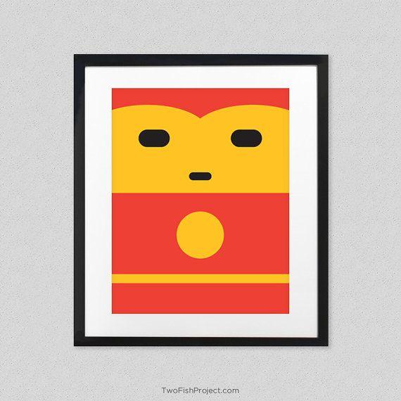 Iron Man Poster for Kids Room - Cute Minimalist Avengers Superhero ...