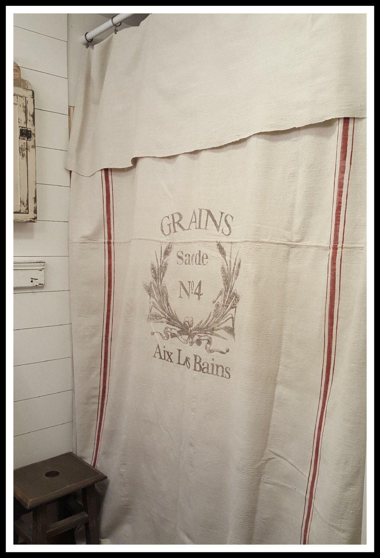 Grain Sack Window Or Shower Curtain Grains No4 Pattern Cloth Shower Curtain Primitive Bathrooms Drop Cloth Curtains