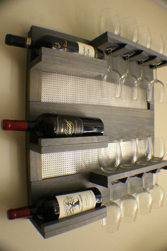 Rustic Weathered Grey Stained Wall Mounted Wine Rack With Shelves And Decorative Chrome Mesh