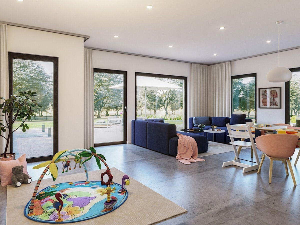 Offenes Wohnzimmer modern mit Essbereich - Haus Inneneinrichtung