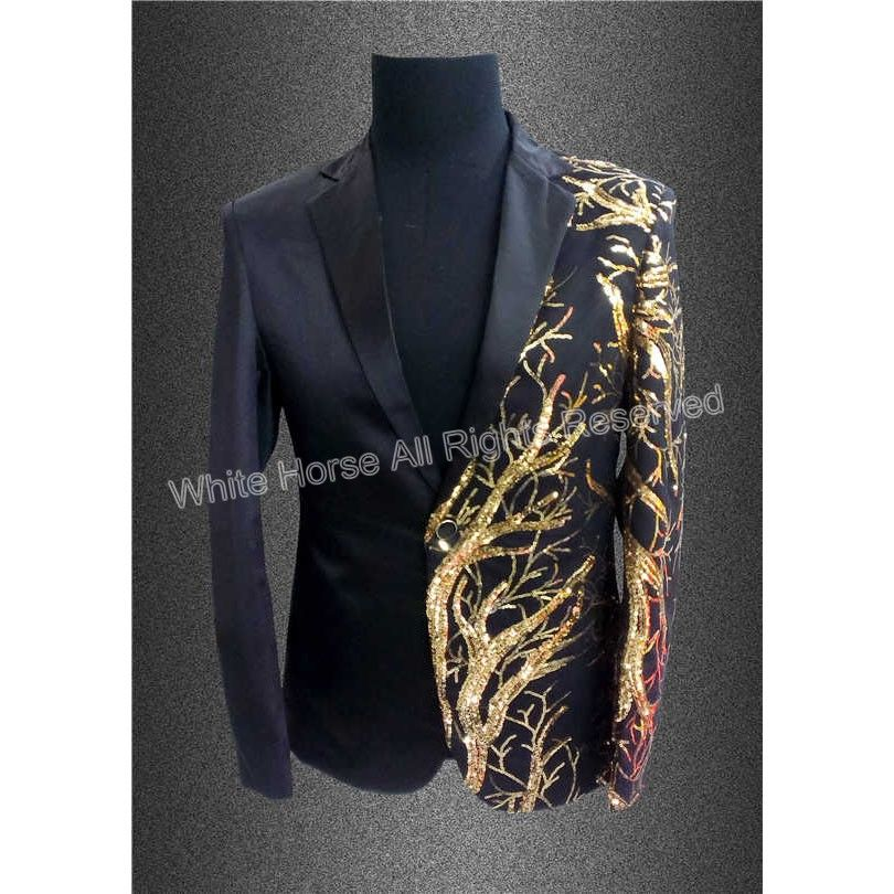 2017 Mens Blazer Sequin Jacket Blazer Men Veste Costume Homme Men Black  Gold Tuxedo Summer Deluxe Men s Sequin Jacket f998e6a66714