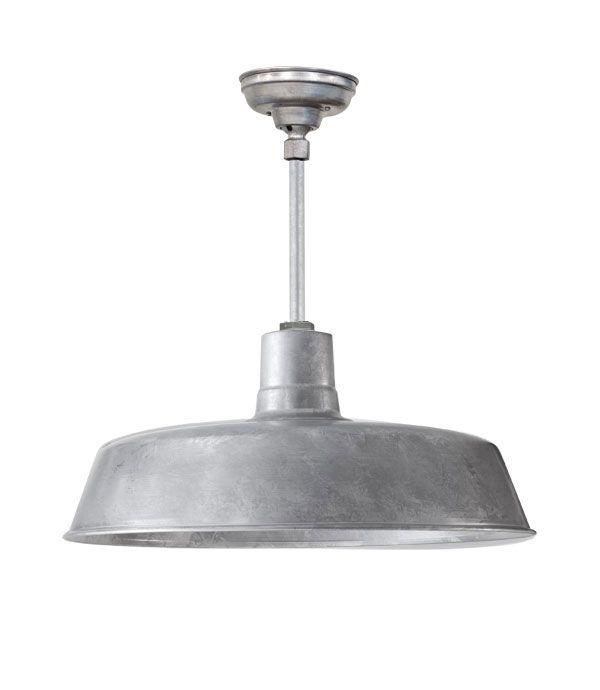 "Hanging Light Galvanized: Laundry /mudroom24"" Original Stem Mount LED Pendant, 975"