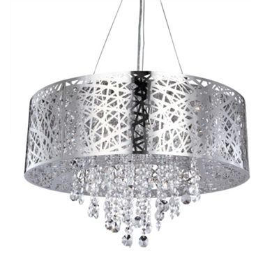 Shop the ashley 9 light dual mount drum ceiling light in chrome from litecraft a stunning ceiling pendant light with free standard uk delivery available