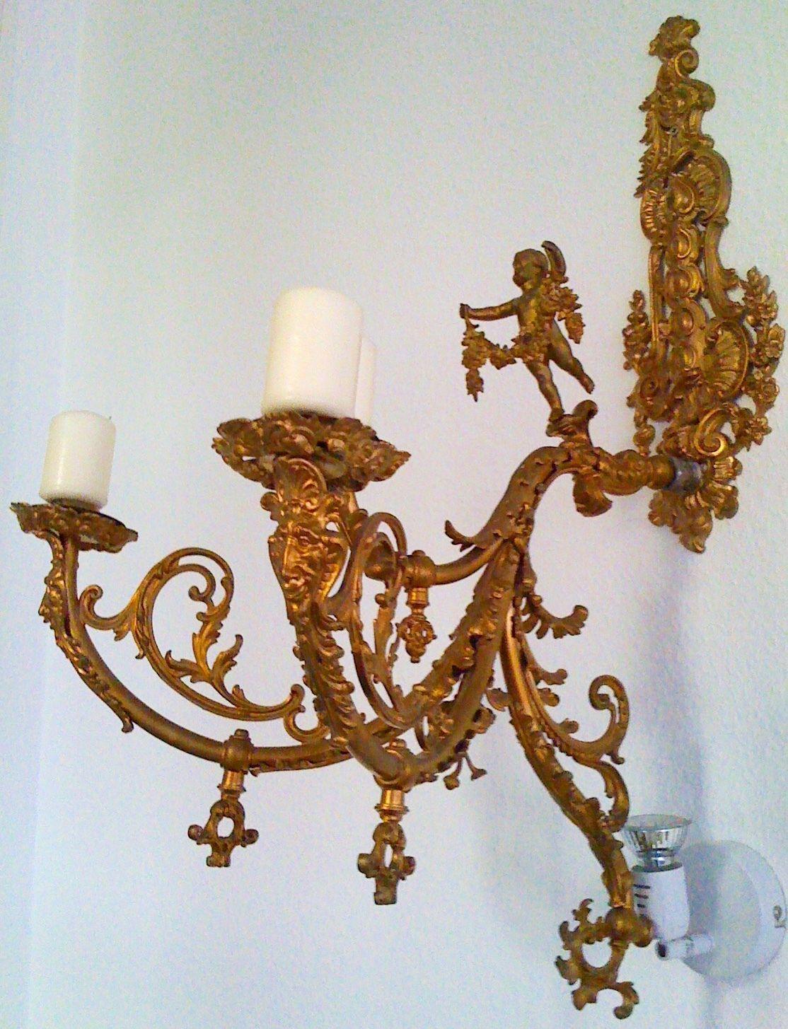 kronleuchter inkl 2 wand leuchtern lster saal lampe antik barock gold in - Kronleuchter Wand