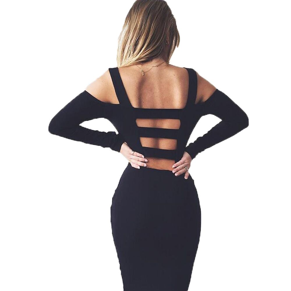black white sexy solid long sleeve bandage party dress hollow