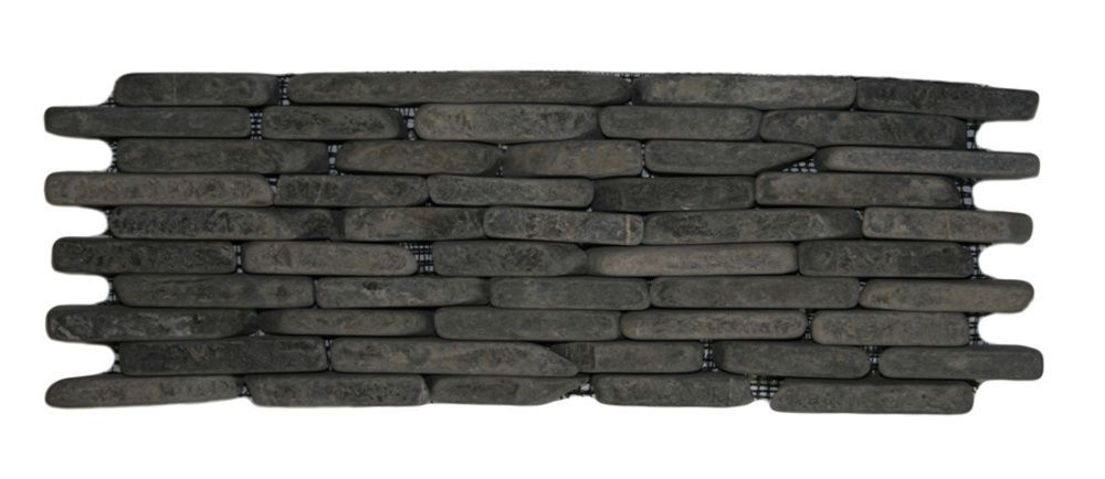 Grey Standing Mosaic Tile 4 X 12 Stacked River Rock Stone