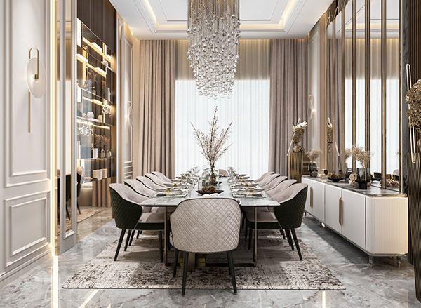 Luxurious Neo classic dining room design, UAE