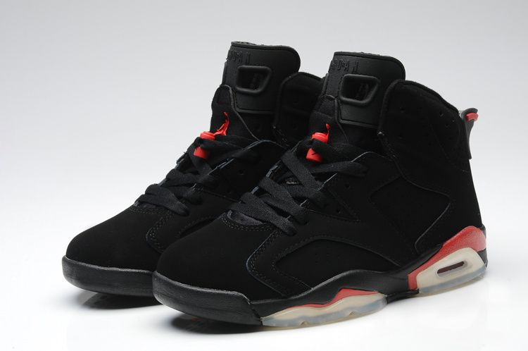Women's Nike Air Jordan 6 Black Red AJ6 Girls Basketball Shoes