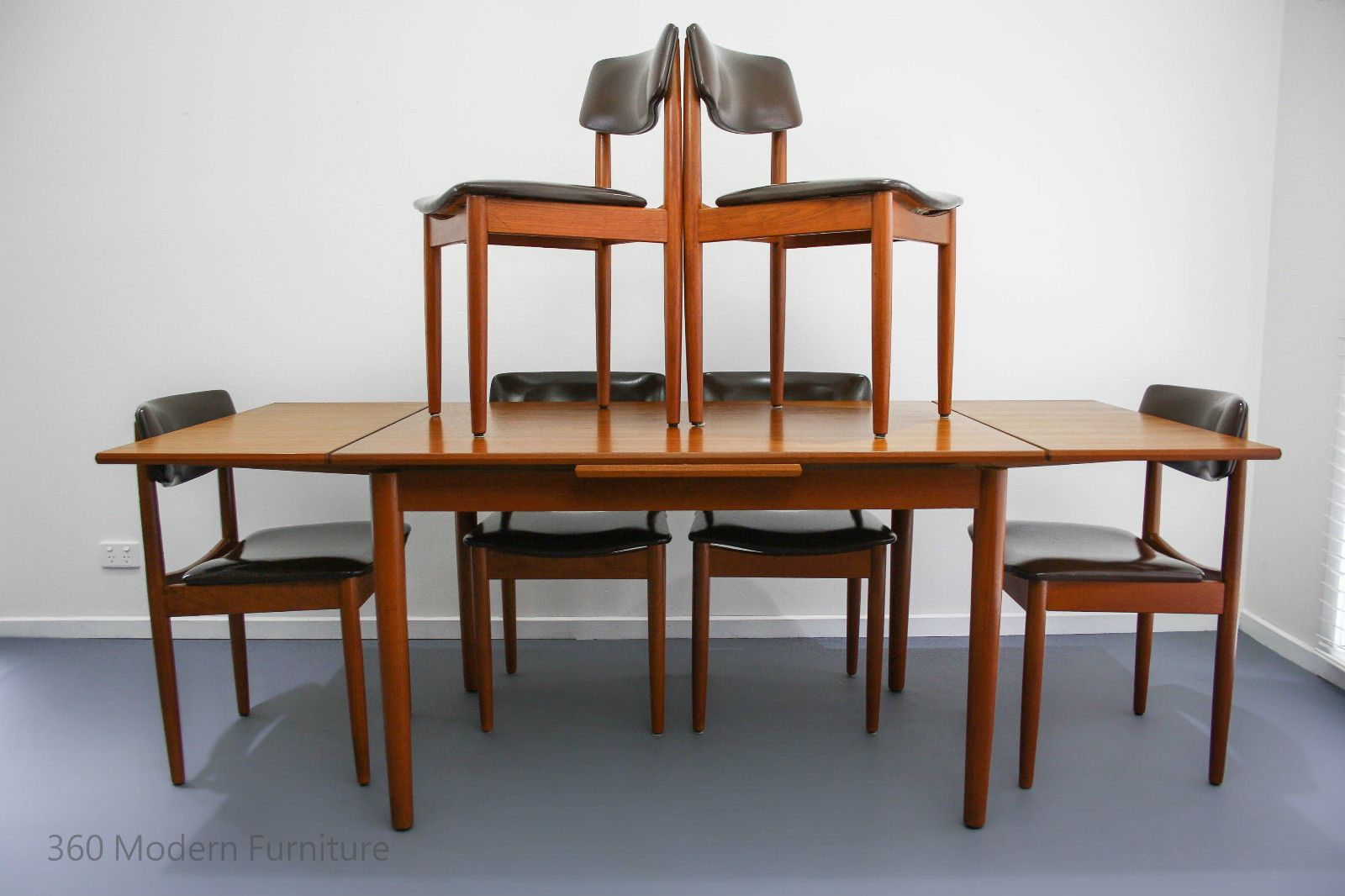 Mid Century Chiswell Dining Table Chairs X 6 Teak Vintage Retro Danish Parker Eames Scandi