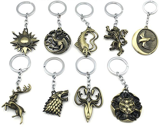Wob 9pcs Game Of Thrones Inspired House Sigils Keychain Pendants