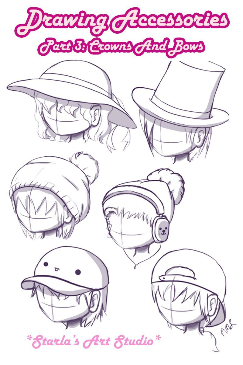 Hats Here Is A Reference Image On How To Draw 6 Types Of Hats On A Head If You D Like To See Me Draw Them A Drawing Hats Drawing Accessories Cartoon