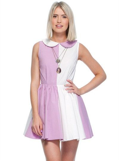 Lilac white peter pan collar Dress by Foresthoneylady on Etsy, $45.00