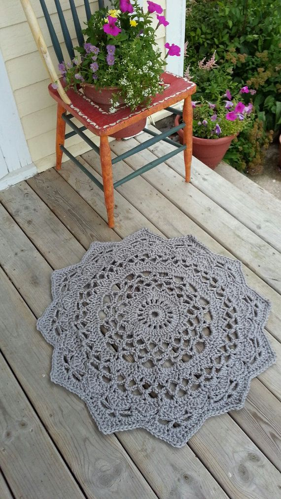 Crochet Doily Rug, , French Country Lace Round Rug, Home ...