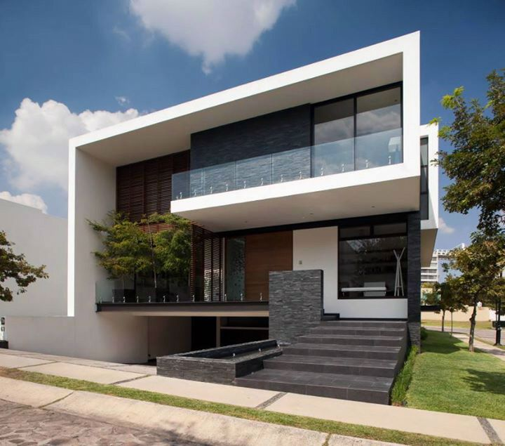 Fachada frontal de resid ncia contempor nea frontal for Contemporary house facades