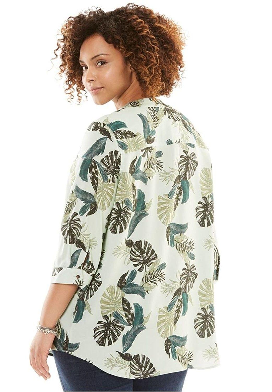 fffc68db59d Women s Plus Size 3 4 Sleeve Tab-Front Blouse - White - C912BD06BJL ...