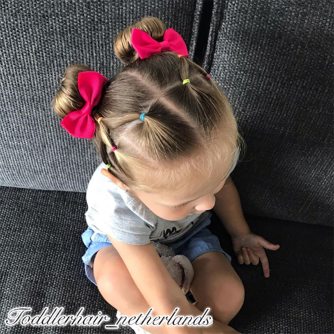"""Alix's Hairstyles on Instagram: """"Today I made 2 cute buns with a cheerful elasticstyle on the front of her head with rainbowcolors 🌈 How do you like it? . . . . . . . .…"""""""